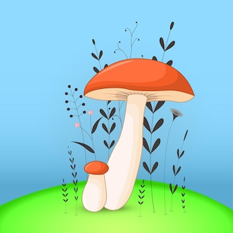 Cartolina regalo con funghi animali dei cartoni animati. sfondo floreale decorativo con rami e piante.