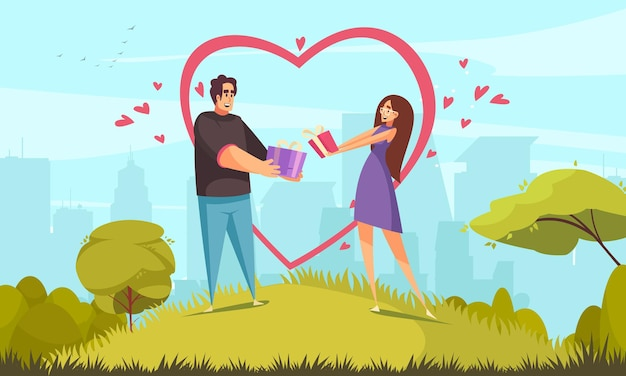 Regalo presente composizione nel giorno di san valentino con paesaggio urbano all'aperto e personaggi piatti di giovani coppie che si tengono per mano illustrazione