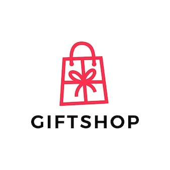 Modello di logo della borsa della spesa del negozio di articoli da regalo