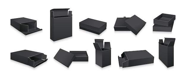 Set di mockup di scatola nera modello regalo collezione di scatole di imballaggio del prodotto pacchetto aperto realistico in bianco