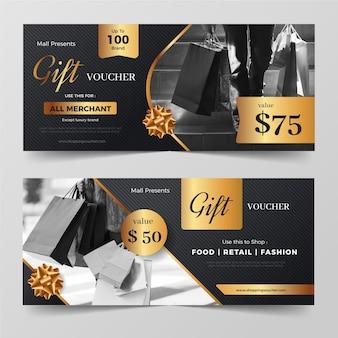 Collezione di modelli di voucher regalo con foto
