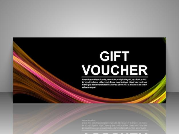 Modello del buono regalo isolato su grigio