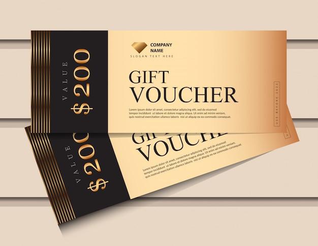 Modello del buono regalo con elementi di lusso glitter oro.