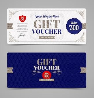 Modello del buono regalo con glitter argento, illustrazione,