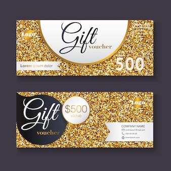 Modello del buono regalo con motivo glitter oro