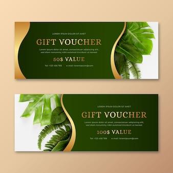Modello del buono regalo con foto di piante