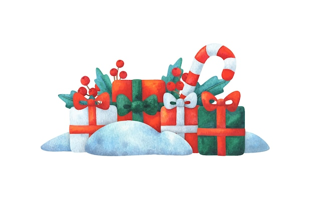 Regali e un bastoncino di zucchero nella neve. composizione di natale