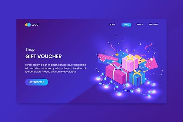Pagina di destinazione del concetto isometrico del negozio di regali