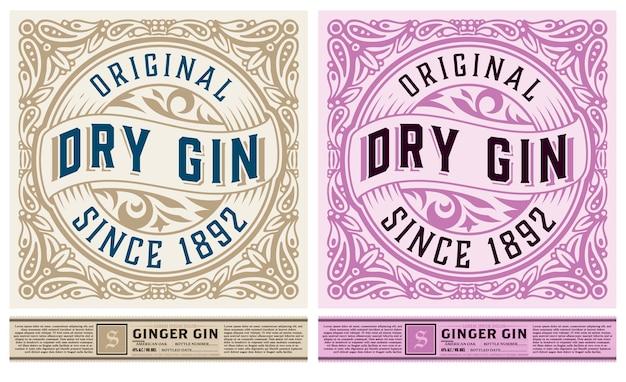 Etichetta di gin per il confezionamento con ornamenti floreali
