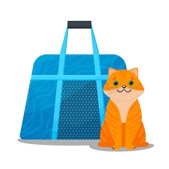 Il gatto dello zenzero si siede accanto al trasportino. borsa in tessuto per animali