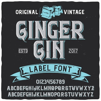 Carattere tipografico etichetta ginger gin