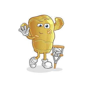 Lo zenzero malato con mascotte personaggio bastone zoppicante