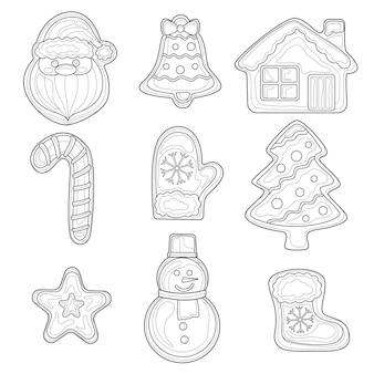 Natale di pan di zenzero. libro da colorare antistress per bambini e adulti. stile zen-groviglio. disegno in bianco e nero