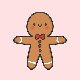 Vettore disegnato a mano di stile del fumetto di natale del biscotto del pan di zenzero