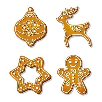 Biscotti allo zenzero. biscotti festivi a forma di renna e omino di pan di zenzero, decorazione dell'albero di natale e fiocco di neve e stella. fumetto illustrazione vettoriale.