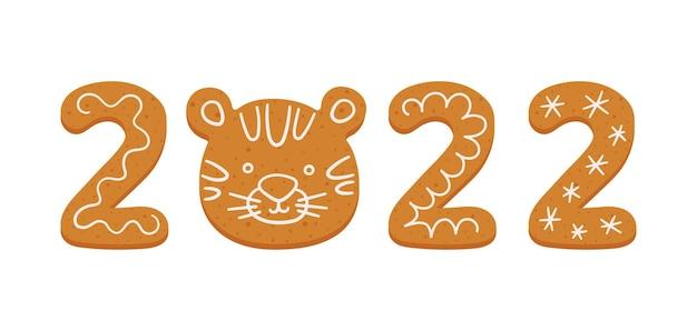 Biscotti di panpepato sotto forma di numero 2022 e tigre felice anno nuovo 2022 anno banner