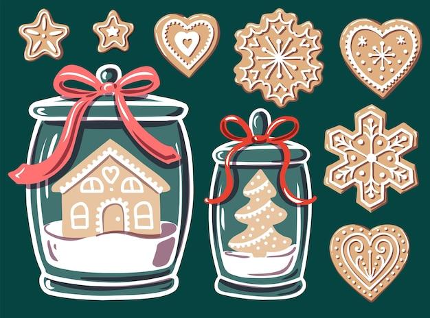 Pan di zenzero in un barattolo di vetro con albero di natale e casa di natale biscotti festivi biscotti fatti in casa