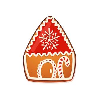 Casa di marzapane. simpatico biscotto natalizio tradizionale con decorazione di glassa bianca. illustrazione vettoriale.