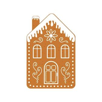 Casa di pan di zenzero con camino e ornamento di glassa biscotto di natale biscotto