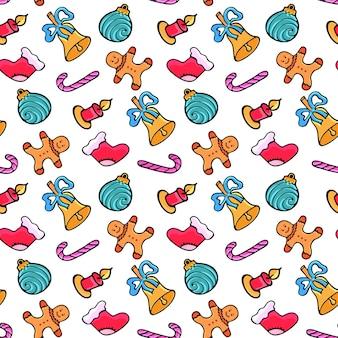 Omino di pan di zenzero, caramelle, calzino di babbo natale, campanello. reticolo senza giunte di natale. design per il nuovo anno in stile doodle.