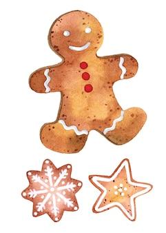 Insieme di elementi dell'acquerello dei biscotti dell'uomo di pan di zenzero