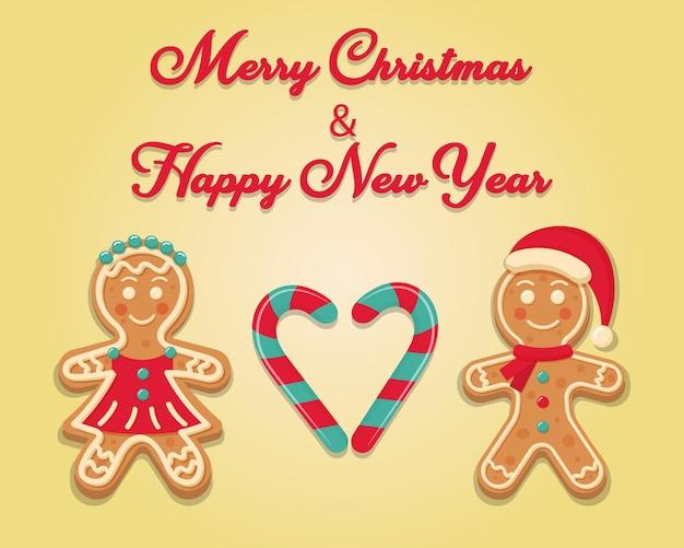 Uomo e donna di pan di zenzero con bastoncino di zucchero a forma di cuore buon natale e felice anno nuovo