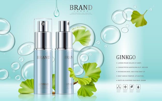 Annunci di cosmetici ginkgo con flaconi spray blu