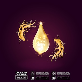 Ginseng collagene o olio goccia sfondo per il concetto di cosmetica skincare