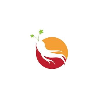 Illustrazione vettoriale di ginseng. simbolo del logo della radice di ginseng