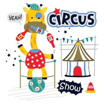 Giraffa l'animale da circo divertente cartone animato animale