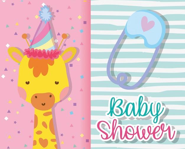 Decorazione della carta della giraffa per l'invito nel baby shower