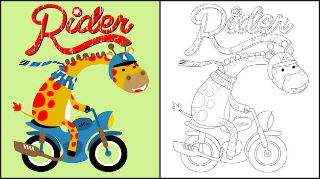 Cartone animato di giraffa in moto