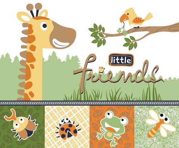 Cartone animato di giraffa con piccoli amici