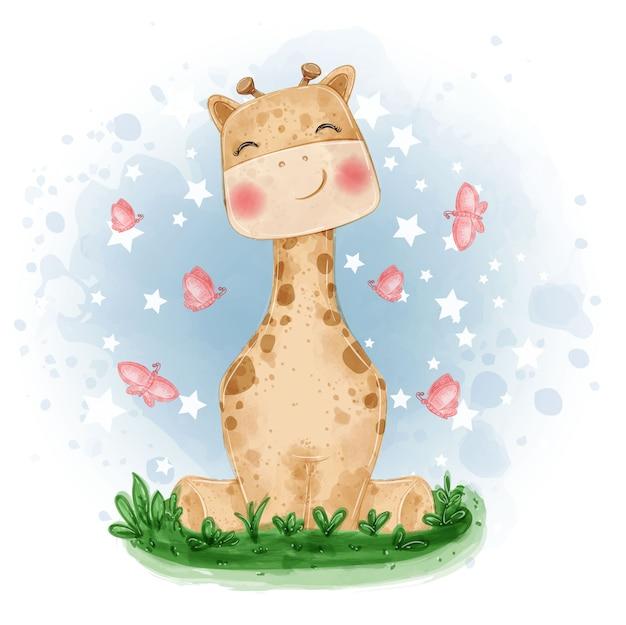 Illustrazione sveglia della giraffa sedersi sull'erba con la farfalla