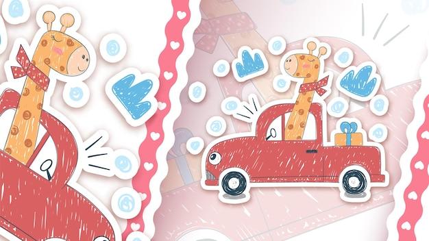 Giraffe driver car - idea per il tuo adesivo
