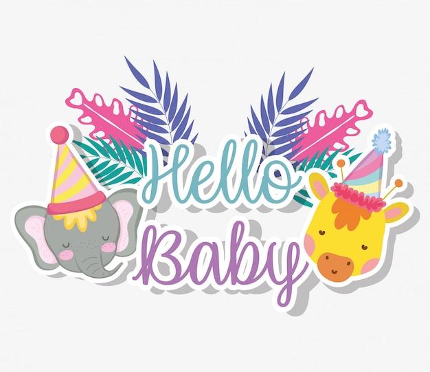 Giraffa ed elefante con cappello da festa per baby shower