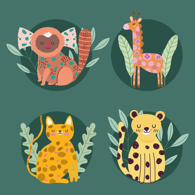 La giraffa e gli animali della giungla felina astraggono l'illustrazione del fumetto della natura della fauna selvatica