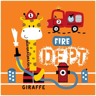 Giraffa il salvataggio dei pompieri divertente cartone animato animale