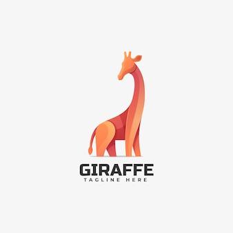 Modello di logo di stile colorato gradiente giraffa