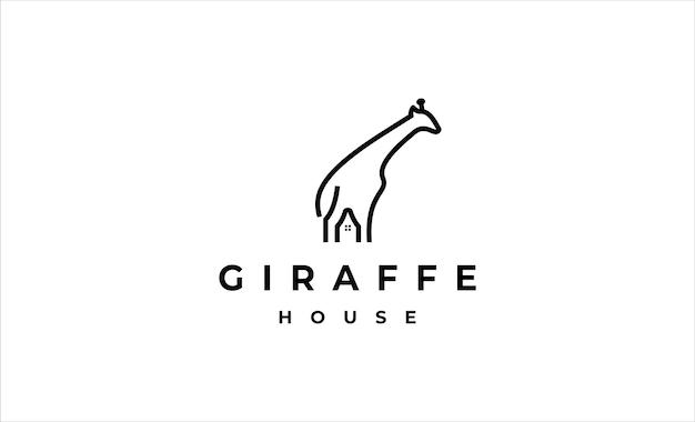 Giraffa home logo icona design illustrazione vettoriale