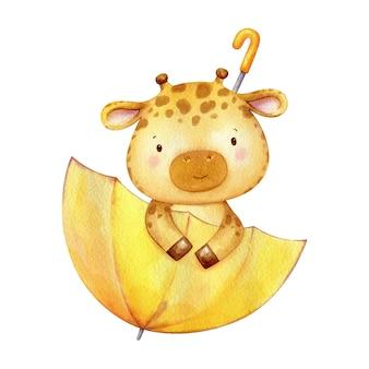 Il bambino della giraffa si siede in un ombrello giallo e guarda fuori. simpatico personaggio dipinto a mano in acquerello.
