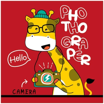 Giraffa il fotografo animale divertente cartone animato