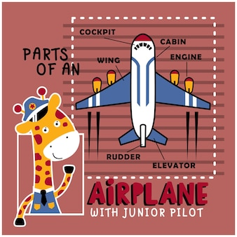 Giraffa il pilota divertente cartone animato animale