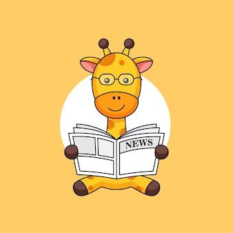 La giraffa si siede e legge il giornale sull'illustrazione del profilo di attività animale di mattina