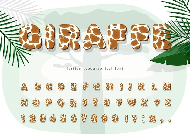 Fonte tipografica del fumetto della pelle della giraffa alfabeto macchiato di pelliccia animale