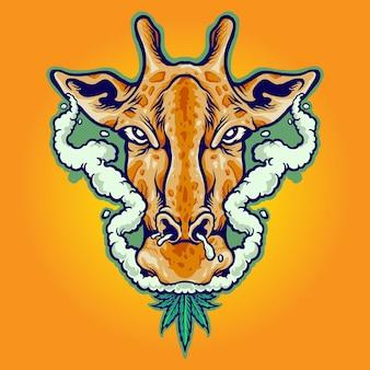 Giraffa che fuma foglie di marijuana illustrazioni vettoriali per il tuo lavoro logo, t-shirt di merce mascotte, adesivi e disegni di etichette, poster, biglietti di auguri che pubblicizzano aziende o marchi. Vettore Premium