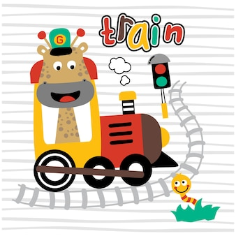 Giraffa e treno divertente cartone animato animale