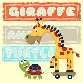 Cartone animato di giraffa e tartaruga