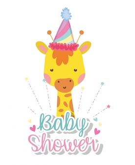 Giraffa indossando il cappello del partito per baby shower e cuori