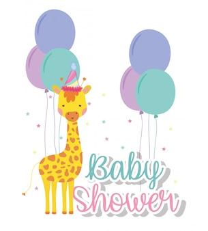 Giraffa con palloncini per festeggiare il baby shower